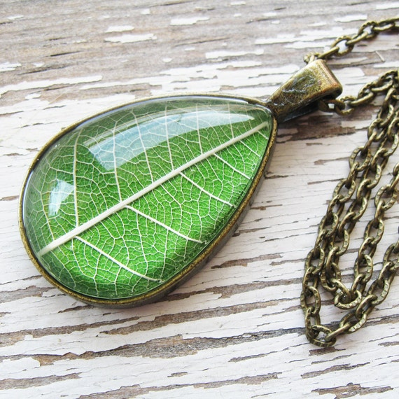 Real Pressed Leaf Necklace - Spring Green Botanical Teardrop Necklace in Antique Brass