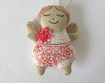 Linen angel - linen ornament decorated with silk flower from handpainted silk - white red pink