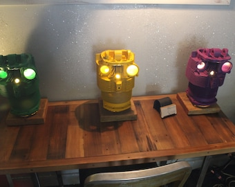 "the ""owl"" lamps - made from airplane engine cylinders"