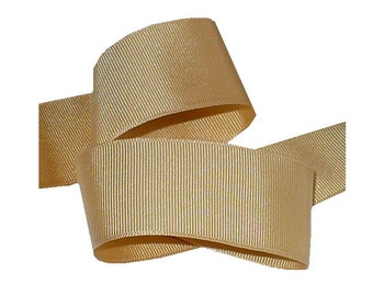 "1"" Vintage 1920's Sand Beige Grosgrain Ribbon, Antique Millinery Sewing Supply"