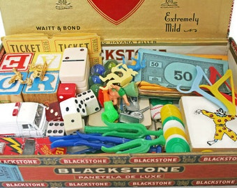 Vintage Inspiration Kit / Toy DIY Bundle of Supplies for Assemblage or Mixed Media Art / Trinkets and Smalls / Toy Box and Game Pieces / Lot