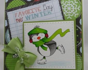 Handmade Card, Greetings, Gift, Christmas, Winter, Whimsey Christmas Skating Penguin
