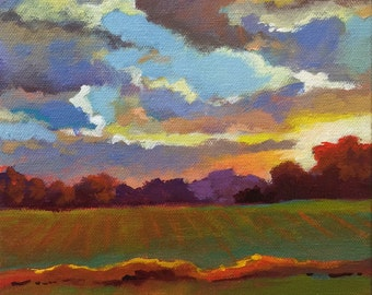 "Original Acrylic Abstract landscape painting- Sunset on the way- 8"" x 8"""