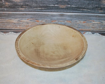 Vintage Handmade Turned Wood Serving Bowl