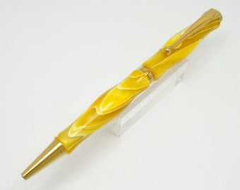 Handmade Lemon Acrylic Pen With Titanium Nitride Plated Components