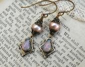 Pink Pearl and Fire Opal, Genuine Pink Pearls ,Filigree Bead caps and Vintage Fiery Pink Teardrop Glass Opal  Earrings HollywoodHillbilly