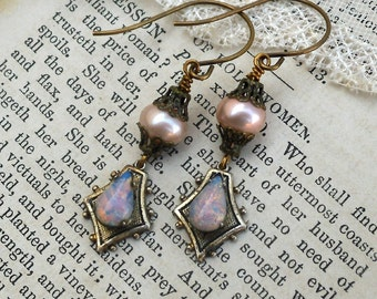 Pink Pearl and Fire Opal, Genuine Pink Pearls ,Filigree Bead caps and Vintage Fiery Pink Teardrop Glass Opal  Earrings HollywoodHillbilly
