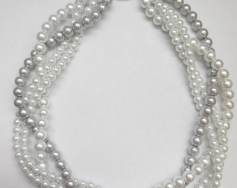 Grey and white braided twisted chunky statement pearl necklace