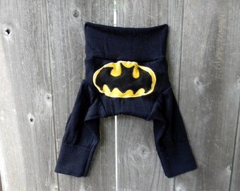 NEWBORN Upcycled Merino Wool  Longies Diaper Cover With Added Doubler Black With Batman Applique NEWBORN 0- 4M Kidsgogreen