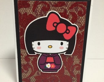 Japanese kitty greeting card