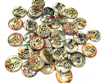 """Musical Magnets, 1"""", 1.5"""", Button Magnet, Music Buttons, Music Decor, Music Note, Music Staff Magnet, Treble Clef Magnet, Band Magnet, Music"""