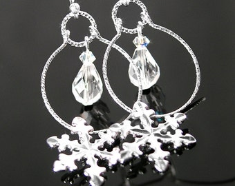 Sterling Silver Snowflake Earrings Clear Crystal Drop Earrings Silver Hoop Earrings Snowflake Silver Earrings Dainty Winter Jewelry