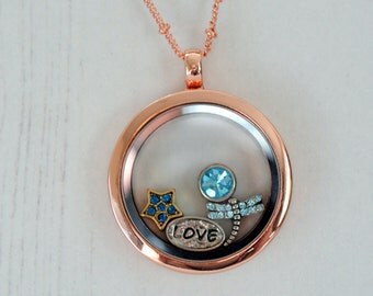 Rose Gold Locket Floating Charms Love Charms Living Locket Anniversary Gift