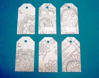 DOLLAR SALE - Join the Coloring Craze - Set of 6 DIY Coloring Tags, abstract design