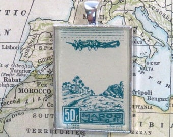 Vintage Morocco Postage Stamp Maroc Airplane Necklace Pendant Key Ring