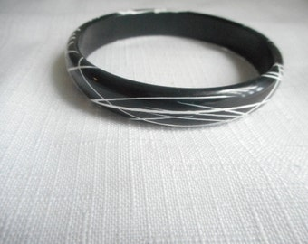 Vintage Black Cuff With White Raised Curves  Bracelet