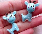 Kawaii Animal Resin Cabochon / Giraffe Cabochons (2pcs / 27mm x 30mm / Blue / Flatback) Baby Hair Pin Making Cute Decoden Pieces CAB558