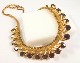 Rhinestone Choker Necklace, Vintage Jewelry, Rhinestone Jewelry, Bright Gold Tone Vintage Necklace, Topaz Color Rhinestones, Mesh Choker