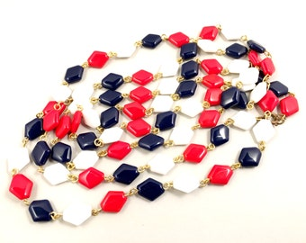 Glass Beaded Necklace, Vintage Jewelry, Long Necklace, Patriotic Jewelry, Vintage Necklace, 4th of July, Bastille Day, Red White and Blue