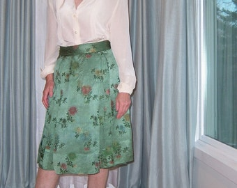 Vintage Chinese Silk Brocade Skirt Silver Green 1950s Chrysanthemums Classic Evening Wear Semi-Formal Luxe Holiday Party  Exotic Custom-made