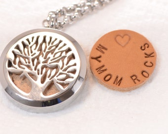 Oil Diffuser Aromatherapy 316L Stainless Steel Tree Of Life Necklace With Choice Of Handstamped Secret Message For Mom Leather Pads