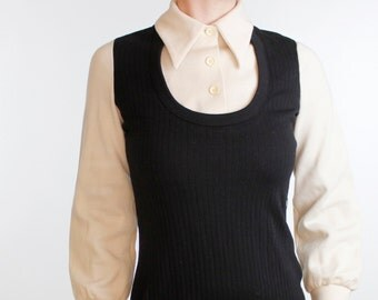 Vintage 60's sweater dress, black ribbed body, off white sleeves & collar, mod, preppy, teacher, cute, acrylic - Small