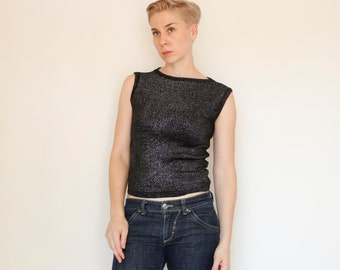 Vintage 60's acrylic sleeveless sweater, knit pullover top, black with silver glittery threads - Small / Medium
