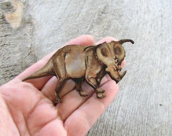 styracosaurus brooch pin . dinosaur tie tack . large dinosaur tie pin brooch