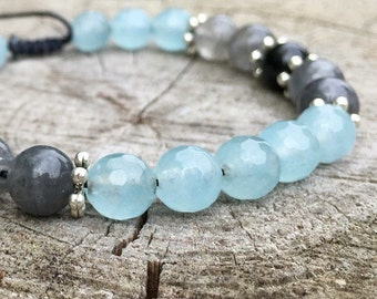 LIMITLESS- Aquamarine, Smoky Quartz and Black Obsidian Wrist Mala Bracelet.