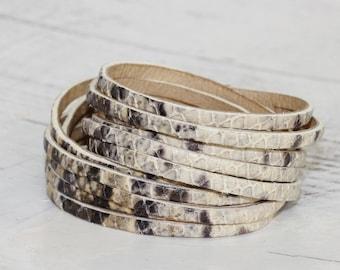 Wrap Bracelet,  Muti Strand Leather Cuff Bracelet,Cream  Snakeskin  Print Leather