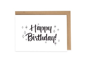 Happy Birthday Hand Lettered Greeting Card