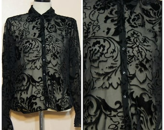 Black Burnout Velvet Blouse SHEER OSFM Ruffle Sleeves Goth Stevie Nicks Boho