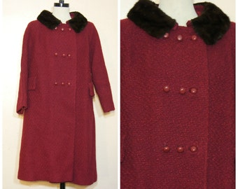 60s Burgundy Coat with Mink Collar Large XL Peacoat Retro Smoke Ring Collar