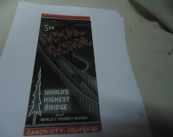 Vintage See Royal Gorge Brochure or Pamphlet, World's Highest Bridge and Steepest Railway, Canyon City Colorado, collectable