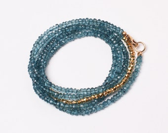 London Blue Topaz Long Rondelle Necklace, Wrap Bracelet, Layering Necklace, Lula Designs