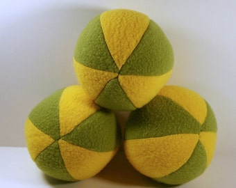 Yellow and Green Fleece Dog Squeak Ball toy