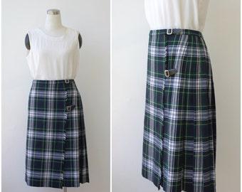 Vintage tartan plaid kilt skirt XL, blue green plaid wrap skirt pleated wool skirt