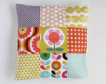 Cushion Pillow Cover Patchwork Vintage Retro Floral Oranges Mustard