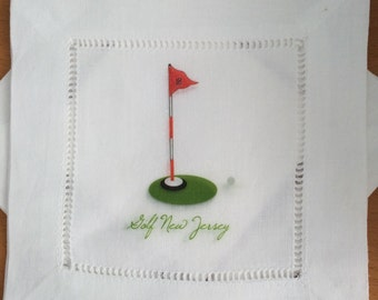 Linen Cocktail Coasters Golf Tee 18th Hole Set of 4 Golf New Jersey Linen Party Decor Gift Golf Club Golf Event