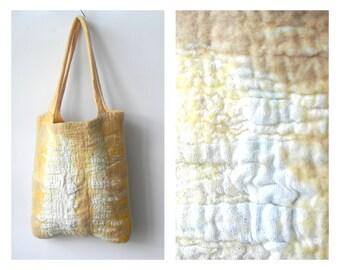 Felt handbag, felt wool bag, large size bag, wool linen bag, summer handbag, gift idea, yellow color combinations