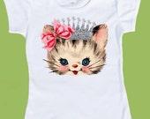 Girls SILVER Crown, Silver INK toddler kitten shirt. Princess Kitten, Girls Birthday shirt,Baby Girls ,One Piece Baby, ChiTownBoutique.etsy