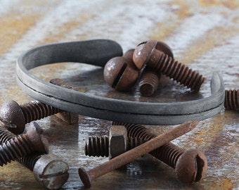 Black Silver Bracelet Mens Oxidized Bangle Line Cuff Unisex