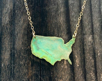 I Left my Heart in the U.S.A Patina Necklace