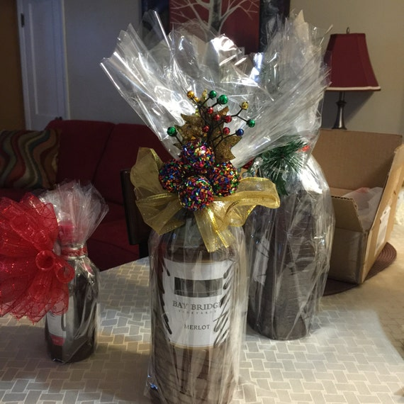 Wedding Wine Bottle Gifts: Chocolate Dipped Wine Bottle Elegant Unique Gifts Weddings