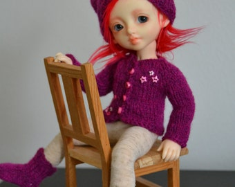 Fuchsia stars - hat, cardigan and socks for Littlefee, YOSD etc.