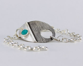 Handcrafted Sterling Silver Oval Chain Bracelet Natural Sea Blue Green Amazonite Cabochon Contemporary Artisan Jewelry Design 0488613582416