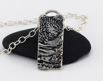 Handcrafted Sterling Jewelry Reticulated Silver Pendant Rectangular Style OOAK Contemporary Abstract Artisan Design Jewelry 996255892616