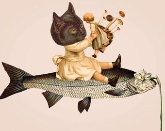 Carry On Original Collage Print UV protected 4x6 inches mushroom blythe doll cat fish Surreal Scientific Illustration Weird ephemera kitsch