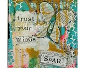 Butterfly Art Print/ canvas/mixed media collage /trust your wings