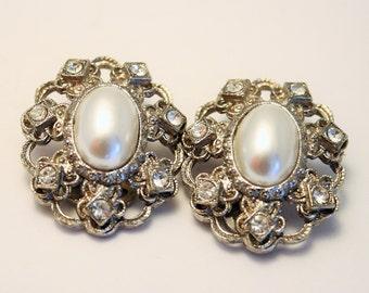 Vintage pearl and crystal earrings.  Clip on earrings